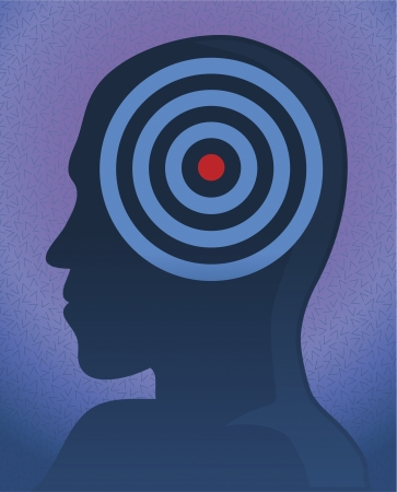 character assassination: A silhouette portrait of a head target on a vector image