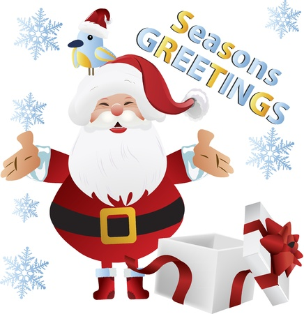 Cheerful santa claus with bird and gift for holiday greeting clip-art