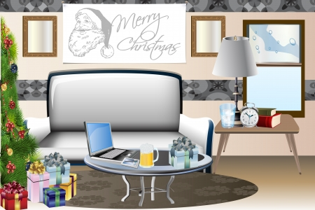 holiday: Vector home scene during holiday