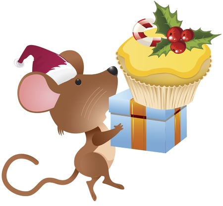 Mouse carrying gifts and cake for holiday clip-art image Vector