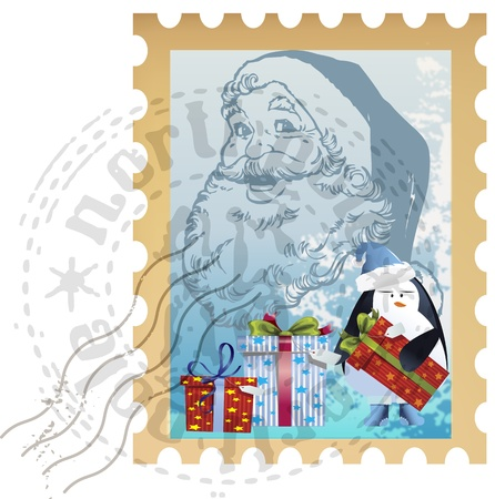 philately: Holiday postage stamp clip-art with Santa Claus, gifts and penguin Illustration