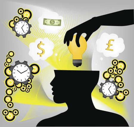 Digital illustration of a human hand putting idea bulb in human brain with clock and currency sign in background. Vector