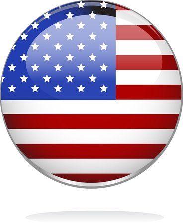 digitally generated image: Digitally generated image of a glossy badge with an American flag design.