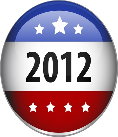 digitally generated image: Digitally generated image of a glossy 2012 badge with stars shape.