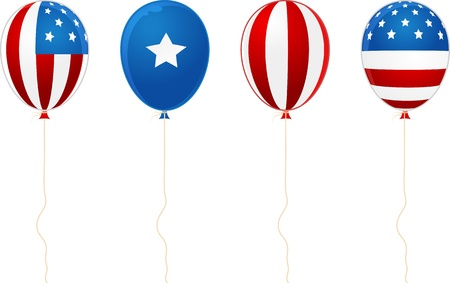 digitally generated image: Digitally generated image of balloons side by side with stars and stripes design.