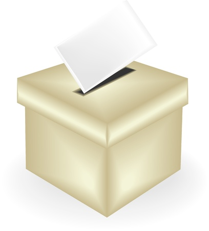 ballot: Digitally generated of a ballot box and voting card.