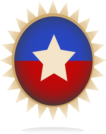 Digitally generated of a retro badge with star shape design and rays.