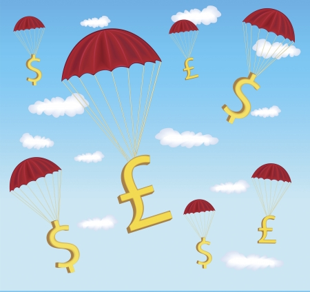 Digital illustration of dollar and pound sign hanging in parachute. Stock Vector - 15378528
