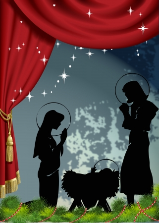 holy family: Nativity scene holiday poster vector Illustration
