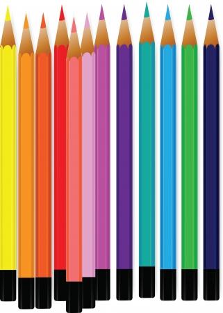 Vector van kleurrijke potlood kleurpotloden op een witte achtergrond.