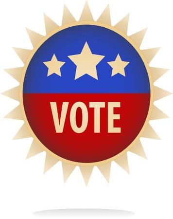 vote: Red white and blue vote badge on white.  Illustration