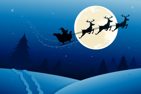 Santa's sleigh in mid flight during the night.