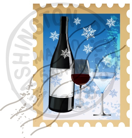 Vector illustration of stamp with Christmas drinks