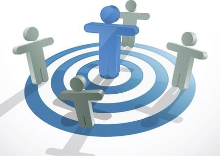 Concept van meerdere mensen die naar hetzelfde doel.