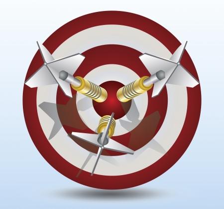 3 投げ矢のピンと赤と白のターゲット  イラスト・ベクター素材