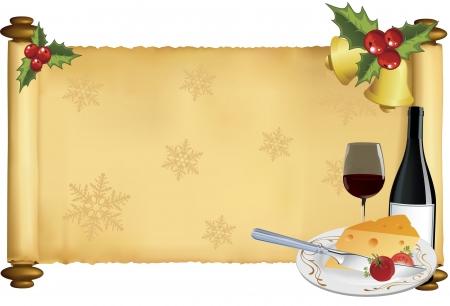 Vector illustratie van Kerstmis motief scroll