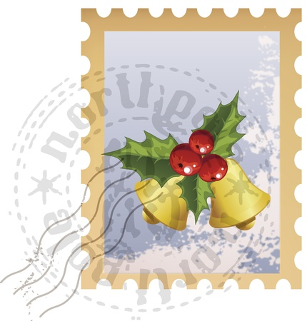 philately: Vector Christmas postage stamp with Christmas bells Illustration