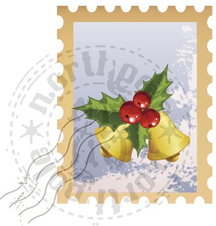 Vector Christmas postage stamp with Christmas bells Zdjęcie Seryjne - 15378821