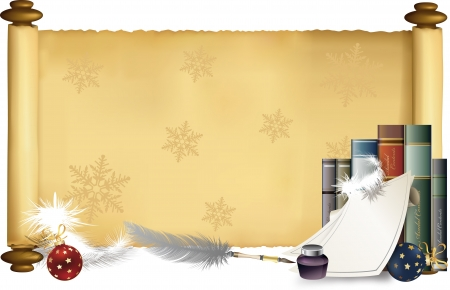 Vector illustration of Christmas theme in the scroll banner  Stock Vector - 15378521