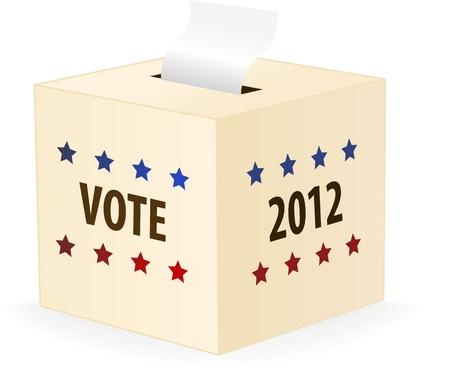 political rally: Digitalmente generare immagine di una scatola di scheda elettorale 2012. Vettoriali