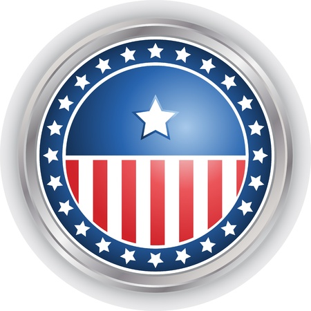 digitally generated image: Digitally generated image of a vote button with stars and stripes design. Illustration
