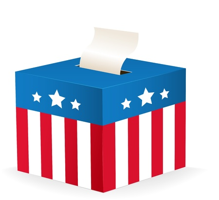digitally generated image: Digitally generated image of a ballot box with stars and stripes. Illustration