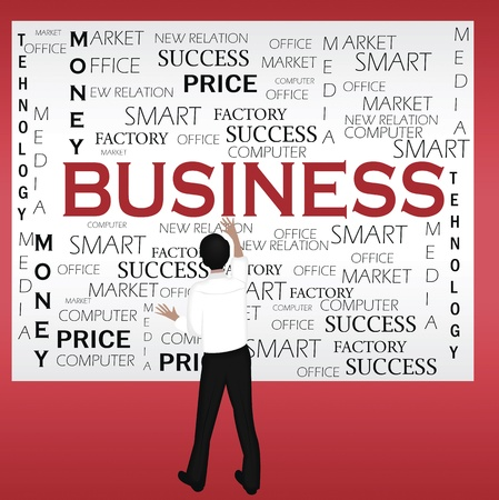 Digital illustration of a businessman sticking business notice on red wall.