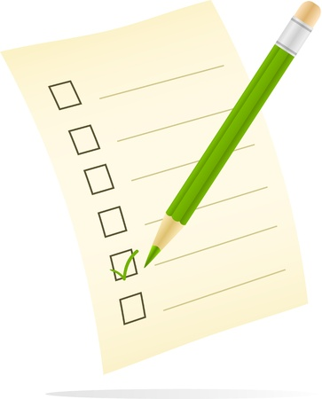 digitally generated image: Digitally generated image of a checklist with green tick mark symbol. Illustration