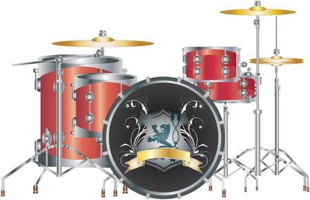 白いライオンのロゴに設定完全赤いドラムのセットです。  イラスト・ベクター素材