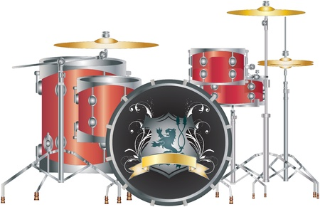 red drum: Set of a full red drum set on white with lion logo.