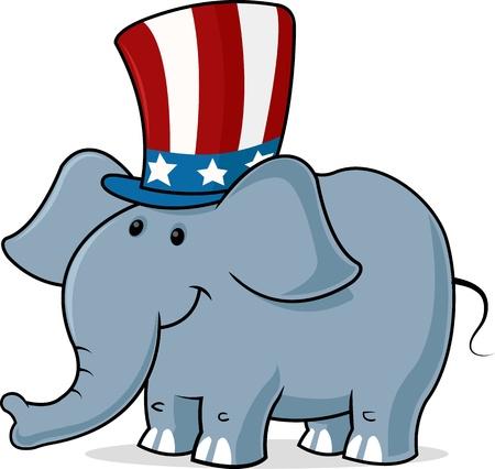 트렁크스: 디지털 삼촌의 샘 모자를 착용하는 코끼리의 이미지를 생성합니다. 일러스트