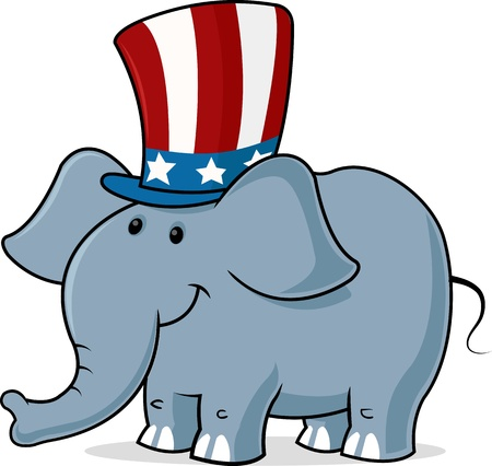 digitally generated image: Digitally generated image of a elephant wearing Uncle s sam hat.