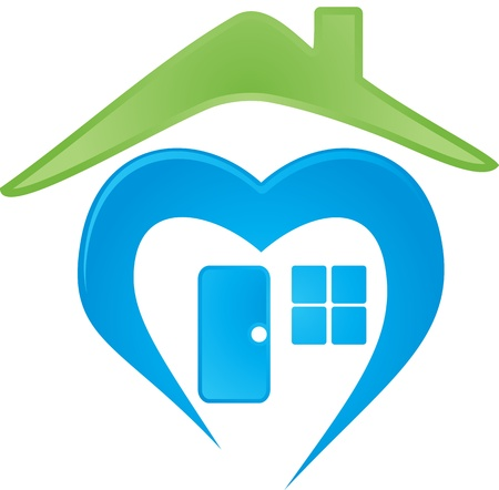 Digitally generated of a house logo over white. Stock Illustratie