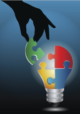 Digital illustration of human hand joining colorful puzzle of idea bulb. Ilustração