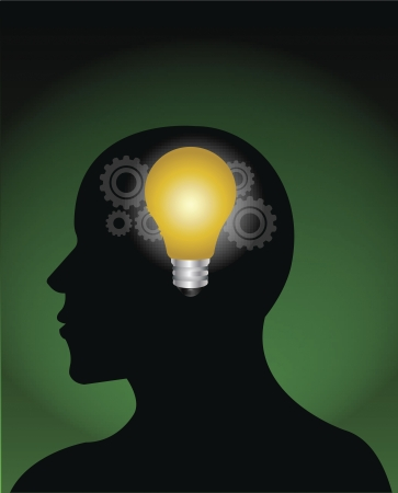 digitally generated image: Digitally generated image of a man with idea bulb in head.