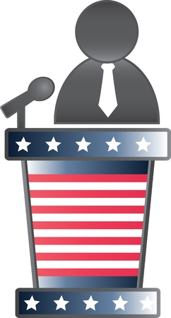 digitally generated image: Digitally generated image of a public speaker and on a podium with stars and stripes. Illustration