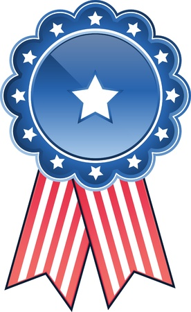 Digitally generated image of blue and red stars and stripes badge.