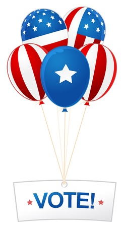digitally generated image: Digitally generated image of balloons and vote banner with American flag design.