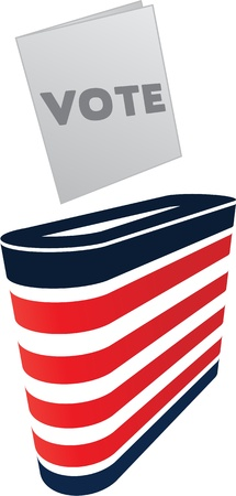 Digitally generated image of ballot box and vote. Illustration