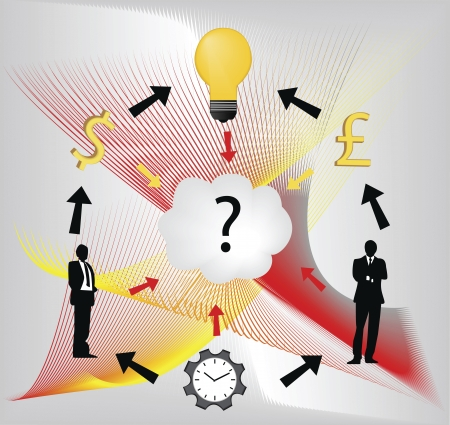 Digital illustration of businessmen with question mark, idea bulb, clock and currency symbols. Stock Vector - 15378546