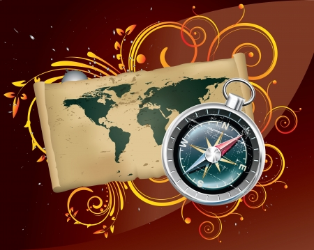 Digitally illustrated image of a compass with map in background.
