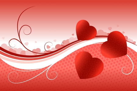 digitally generated image: Digitally generated image of heart shape on bright red background