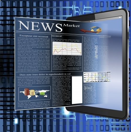 palmtop: Vector illustrated image of a news in palmtop