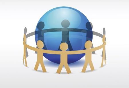 Illustration of people holding hands around blue planet  Ilustração
