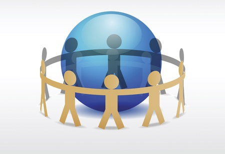 connectivity: Illustration of people holding hands around blue planet  Illustration