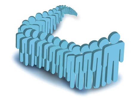 que: Digital illustration of blue people standing in que  Illustration