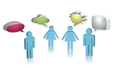 Digital illustration of boys and girls with speech bubbles