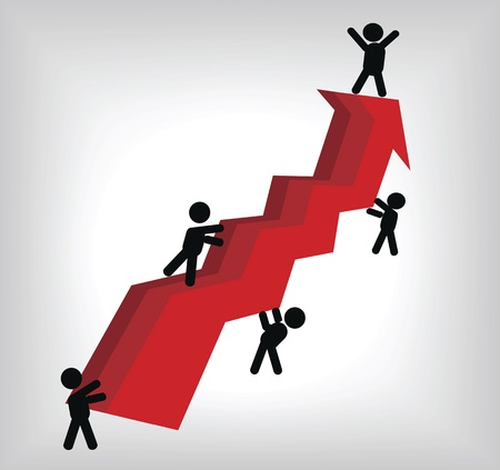digitally generated image: Digitally generated image of business people by red arrow line graph  Illustration