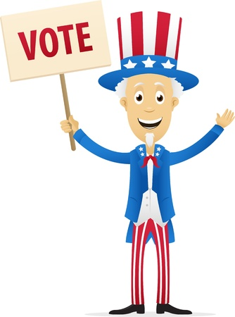 Digitally generated image of Uncle sam holding vote placard