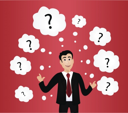 Vector image of thoughtful businessman with question marks over red background